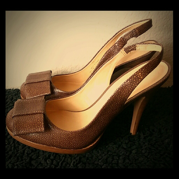 baeca149cda Talbots Shoes - TALBOTS Slingback Brown Heels with Bow